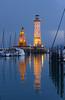 Kurzurlaub in Lindau - Hafeneinfahrt mit Leuchtturm und Löwe (steffi's) Tags: reflection lindau hafen harbor bodensee lakeconstance lighthouse leuchtturm bluehour water see wasser