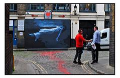 STREET ART by ATMA (StockCarPete) Tags: alma streetart londonstreetart graffiti urbanart bleedingheartyard london uk floating downing women female bluered cobbles