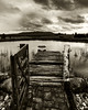 Timeless Beauty (Pipes070) Tags: dam lake black white sepia gate dock jetty boat row water clouds age old weathered timeless country farm cobblestone fence australia nsw broke landscape wood timber aged history