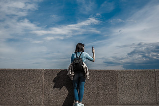 Sky, girl and mobile