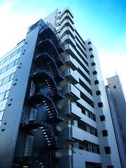 Blue heights (DameBoudicca) Tags: tokyo tokio 東京 japan nippon nihon 日本 japón japon giappone atago 愛宕 stairs trappa treppe escalera escalier scala 階段 architecture arkitektyr blue blu blå blau azul 青 あお