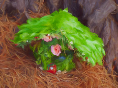 Gnome Sweet Home (Steve Taylor (Photography)) Tags: fairy pineneedles bark berry door rose digitalart building house brown green pink red newzealand nz southisland canterbury christchurch newbrighton leaves flower pebble stone texture