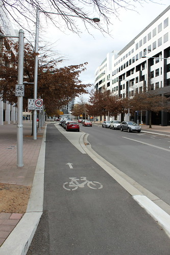 Separated bicycle lane in Civic, Canberra