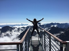 Person Standing on Hand Rails - Credit to http://homedust.com/ (Homedust) Tags: adventure beauty blonde hair blue sky climb clouds cloudy cool daylight enjoy fog freedom high hike joy landscape life mountain peak nature outdoors person scenic shadow slovakia socks success top tourism travel vacation wear woman