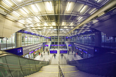 Two In One (CoolMcFlash) Tags: vienna station architecture fisheye hauptbahnhof canon eos 60d sigma 10mm reflection symmetry wien architektur fischauge spiegelung symmetrie symmetrisch stairs stufen modern futuristic city stadt urban