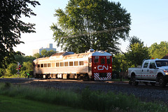 Top of the Morning (view2share) Tags: cn1501 test testtrain minneapolissub stcroixcounty wisconsin wi trackinspection trackmaintenance trains track transportation tracks transport trackage trees deansauvola june142018 june2018 june 2018 mainline maintenance maintenanceofway mow railway railroading rr railroads railroad rail rails railroaders rring sidetrack siding highrail section switch switches rdc budd stainless stainlesssteel newrichmond westbound westernwisconsin morning glint sunrise sunshine sunny cn canadiannational