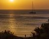 Before sunset (kurjuz) Tags: għajntuffieħa malta beach beforesunset blue gold horizon man reflection ripples sailingboat sea silhouette sun
