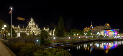 BC Parliament and the Steamship Terminal (Non Paratus) Tags: canada britishcolumbia parliament panorama night noflash steamshipterminal canadianpacificrailway building 1898 1926 innerharbour victoria