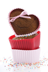 heart shape muffins (ElKangSaid) Tags: baked birthday cake candy chocolate decorate delicious dessert food gourmet heart homemade muffin snack sprinkles sugar sweet tasty valentine white yummy 14 brown cocoa colour container cook cookies cupcakes day february gift spoon mint kitchen love lovers romantic romanticism silicone sample text isolated pile sprinkle