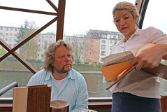 Serving (Leifskandsen) Tags: people restaurant spree river eat rain float germany berlin camera leica living leifskandsen leif skandsenimages europe
