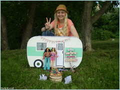 Me with a camper and dolls (Mary (Mária)) Tags: summer trip park doll barbie toys handmade camper boho travel camping nature festival love peace freedom flower hippie chic photography photoshoot photographer exterior mom birthday marykorcek