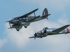 Rapide & Anson Formation (davepickettphotographer) Tags: theshuttleworthcollectionuk oldwarden biggleswade flight aircraft uk bedfordshire shuttleworthcollection flynavy airshow flying aviation dehavilland rapide avro anson basystems raf dh annie