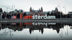 Amsterdam - what a city! (jameslf) Tags: amsterdam bluehour city dawn iamsterdam morning museumplein netherlands reflections rijksmuseum sign sunrise water