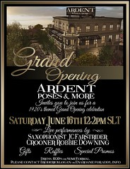 Ardent Poses GRAND Opening Invitation (Broderick Logan) Tags: secondlife second life sl avatar 2nd 2ndlife avi virtual vr 3d inworld poses pose ardent photography team family text writing party celebration grand opening live singer entertainment entertainer raffles giveaways sales promos promotions 1920s theme