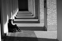 Relax in mosque (cefan) Tags: yazd mosque woman prayers bw buildings persia iran islam