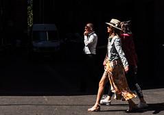 Long Stride (RP Major) Tags: street people melbourne walking smoking woman women man fashion hat streetscape shadows