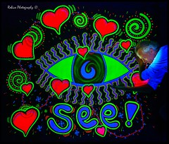 See! Painting by: Jeroen Bos Art (Robica Photography) Tags: jeroenbosart robicaphotography art kunst color psychedelicart 3d artgallery happy fluor neon psychedelic popart music jeroenbosch blacklight blacklightartshow uv ultraviolet uvart paintings light glow lightarts led oilpaint partytime portrait abstract illustration d3200 eye see heart spiral