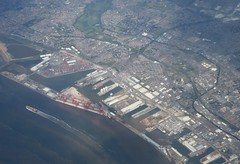 Seaforth Dock (MJ_100) Tags: aerial landscape scenery view aircraft window uk liverpool seaforth seaforthdock docks dock port bootle