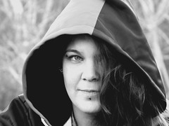 J. D. 4 (kegrose) Tags: girl woman female pretty beautiful sexy mysterious blackwhite concealed model modeling photoshoot hooded outdoors outside natural beauty pierced portrait