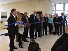 Cutting the ribbon (Robby Gragg) Tags: bob odekirk bruce rauner joliet gateway center opening ceremony don orseno