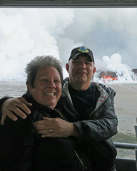 Betty and me on the lava boat (BarryFackler) Tags: volcano kilauea steam vulcanism geology nature hawaiivolcanoesnationalpark lavaoceantours mvhotspot fissure8 lowereastriftzone lerz lava magma nationalparkservice nationalpark puna hawaii bigisland 2018 vog polynesia hawaiiisland outdoor hawaiicounty tropical sea ocean pacificocean island pacific saltwater clouds heat barryfackler barronfackler bettyfackler bettybowen betty railing couple pair people coastline shore coastal coast shoreline