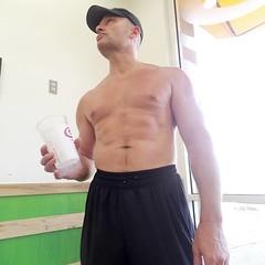 shirtless at jamba juice (ddman_70) Tags: shirtless pecs abs muscle sweatpants jambajuice