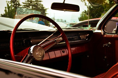 Crusing back in time (spencerwalton) Tags: red cars classic car angle chrome chevrolet chevy impala exterior interior 1950s 50s vintage style luxury convertible ontario canada composition