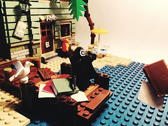 Throwing School Books (bagira.norm2) Tags: display moc lego beach summer school books book villain greenarrow dccomics dc onomatopoeia art