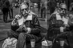 Far Out (Leanne Boulton) Tags: portrait urban street candid portraiture streetphotography candidstreetphotography candidportrait streetportrait eyecontact candideyecontact streetlife man male face moustache eyes style fashion retro 70s 1970s vintage seventies look mood leather bomber jacket smoke smoker smoking cigarette tone texture detail depthoffield bokeh reflection naturallight outdoor sunlight light shade shadow city scene human life living humanity society culture people canon canon5d 5dmkiii 70mm ef2470mmf28liiusm black white blackwhite bw mono blackandwhite monochrome glasgow scotland uk
