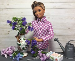3. Flower arranging (Foxy Belle) Tags: barbie today doll made move kira mtm petite rebodied flowers plants real vase arrange gray white purple handmade shirt clothes