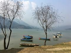 Phewalake, Nepal (Iam Marjon Bleeker) Tags: nepal pokhara lake boat blue tree mountain landscape asunnydayinpokhara phewameer phewalake dag21telefoonimg0432g