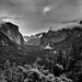 Low Clouds and Mountain Peaks Across Yosemite Valley (Black & White, Yosemite National Park)