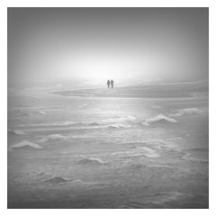On our own (Marco Maljaars) Tags: fog beach monochrome mood marcomaljaars seascape tide light waves alone couple island bw blackandwhite