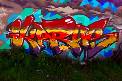 Ikarus Soaring (Steve Taylor (Photography)) Tags: ikarus dtr graffiti mural streetart tag colourful vivid newzealand nz southisland canterbury christchurch weeds cloud lightening