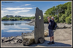 Ian taking a photo_DSC1267 copy (dark-dave) Tags: ian man photographing person welshslate lake llyntrawsfynydd nuclearpowerstation trees sky