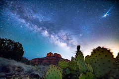 Cathedral Milky Way (Spencer Black) Tags: stars desert sedona arizona sky milkyway venus cactus pricklypear cathederalrock