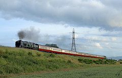 34046 climbs Battlefield bank (Andrew Edkins) Tags: 34046 34052 braunton lorddowding bulleid battlefield welshmarchesexpress railtour excursion lightpacific june 2018 steamtrain shropshire england mainlinesteam southernrailways travel trip canon geotagged