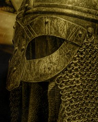 Like A Viking (joegeraci364) Tags: viking nordic scandinavia history helmet chain mail armor display altered art