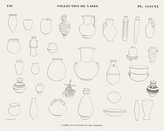 Collection of vases from the paintings or originals from Monuments de l'Égypte et de la Nubie (1835-1845) by Jean François Champollion (1790-1832). Digitally enhanced by rawpixel.