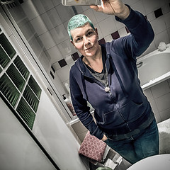 Obligatory (Melissa Maples) Tags: brussel bruxelles brussels belgique belgië belgium europe apple iphone iphone6 cameraphone square 11 me melissa maples selfportrait woman bluehair greenhair reflection photographer mirror bathroom winter