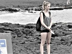 Turtle watch area (thomasgorman1) Tags: beach shore island hawaii canon woman tourist tourism candid monochrome tinted backpack sign sea sand blacksand