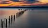 Birds... (Goldmanoz) Tags: thedell cliftonsprings bellarinepeninsula longexposure geelong pier ocean sea water sky clouds sunset birds seagulls reflections