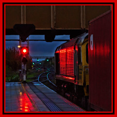 Seeing red (david.hayes77) Tags: arty 2018 freightliner shed class66 66953 leicester leics eastmidlands 4l86 dusk redlight containers intermodal freight cargo night reflections square