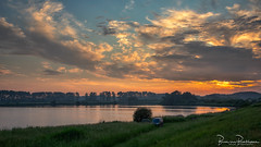 Fishing at Sunset (BraCom (Bram)) Tags: 169 bracom bramvanbroekhoven goereeoverflakkee holland nederland netherlands southholland stellendam zuidholland zuiderdiep auto avond bomen car cloud dijk dike evening fishing fog gras grass landscape landschap mist nature natuur reflection sky spiegeling sunset trees vissen water widescreen wolk zonsondergang nl