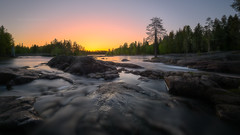 Koiteli sunset 23.5 (M.T.L Photography) Tags: kiiminki koiteli finland riverkiiminkijoki mtlphotography mikkoleinonencom river water stream sky sunset sun rocks trees nikond810 summer