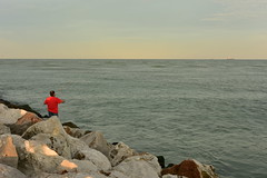 Fishing at Tampico (Zahidur Rahman (Thanks for the Favs, comments and ) Tags: rock ocean sky water sea landscape bay person people fishing tampico mexico beach seaside stream aqua ship afternoon red brown