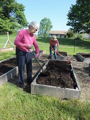 Volunteers Working in the Kitchen Garden (Audubon Community Nature Center) Tags: volunteers gardens gardeners kitchen food shovel spring soil compost