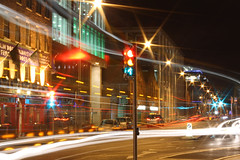 The Ferryman (McGaggs) Tags: night drive cars ireland lighttrails dublin longexposure canon canon1000d road mood lights city eos 1000d rebelxs cityscape trafficlights green red glow
