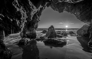 Malibu California Ocean & Beach Sea Cave Sunset Dusk! Pacific Sunset Beautiful Vista Views! Nikon D810 & Sharp AF-S NIKKOR 14-24mm F2.8G ED Lens from Nikon Wide Angle Zoom! Long Exposure Fine Art Landscape Seascape HDR Photography! Elliot McGucken Photos!