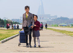 Mother and daughter in Pyongyang (TeunJanssen) Tags: pyongyang dprk northkorea korea youngpioneertours ypt asia travel traveling worldtravel worldtrip 75mm 75mmf18 olympus omd omdem10 dof backpacking